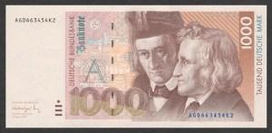 Самая крупная немецкая банкнота 1991 года - 1000 марок