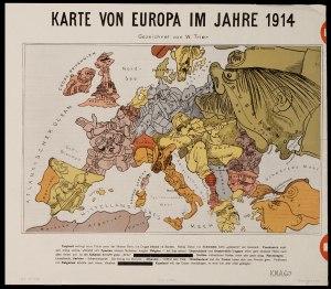 Карта Первой Мировой войны на немецкой пропагандистской открытке
