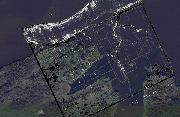 Вид со спутника на затопленный город Корчева