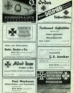 """Страница с рекламой предприятий, производящих ордена и значки. Объявление """"F.Hoffstatter"""" в правом столбце, второе сверху. Вторая половина 30-х годов"""