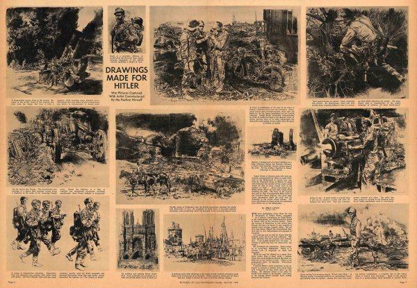 """Разворот фотоприложения «Pictures St. Louis Post-Dispatch» от 22 апреля 1945 года из коллекции """"Маленьких историй"""""""