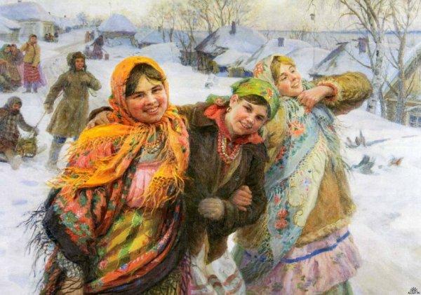 Девушки в павлово-посадских платках. С картины Ф.В.Сычкова