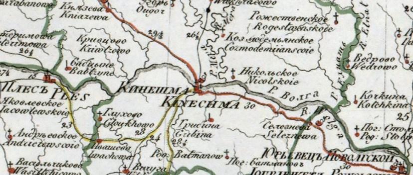 Карта Кинешемского уезда. XIX век.