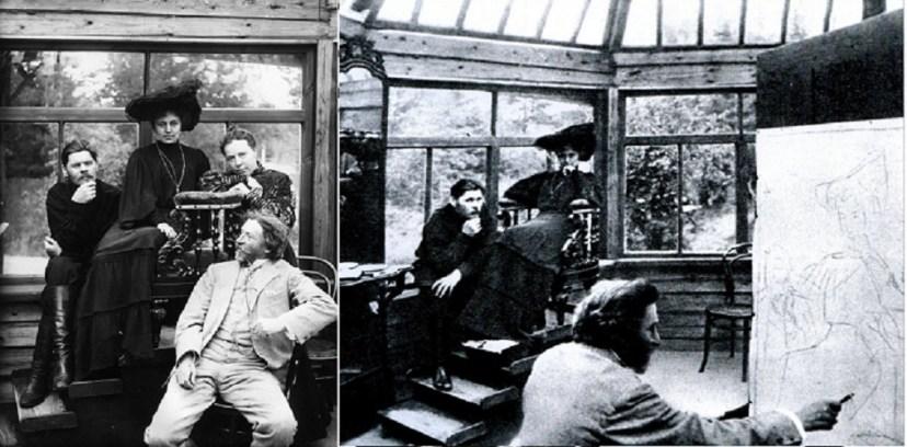 Горький и Андреева позируют Репину. 1905 год