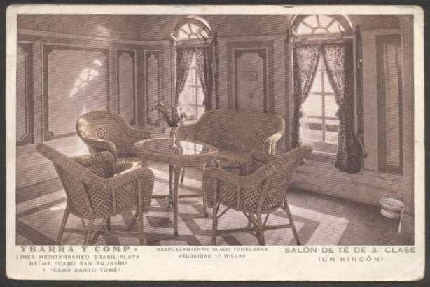 Чайная комната на борту лайнера «Cabo San Agustin»