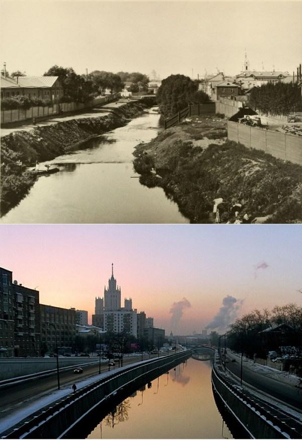 Постепенно оделась в гранит и набережная Яузы в районе Котельников. Снимки 1887 и 2000 годов