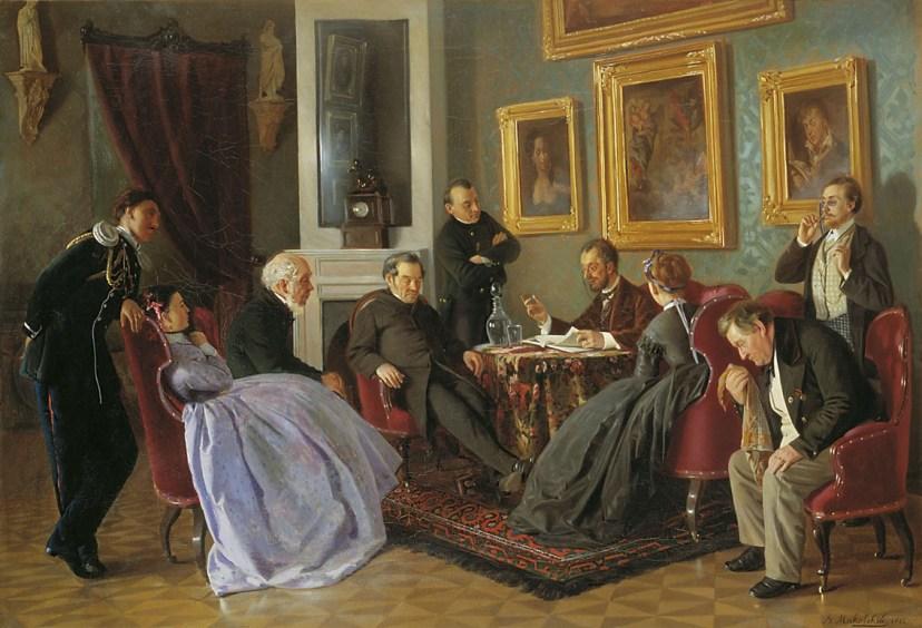 """Картина Владимира Маковского """"Литературное чтение"""". 1866 год"""