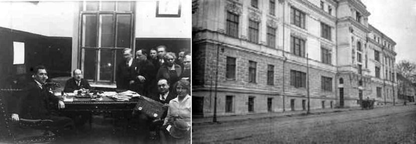 Члены наркомата просвещения во главе с Луначарским и здание Наркомпроса у Крымского моста
