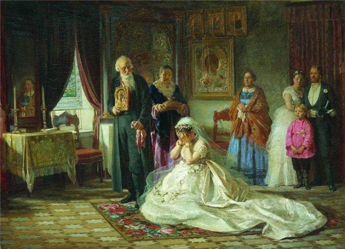 """Картина """"Перед венцом"""". Вынужденные неравные браки становились настоящим наказанием для молодых девиц"""