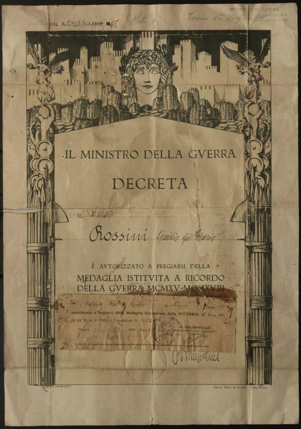 Именной диплом к межсоюзнической победной медали на имя солдата Россини Джулио ди Марио (Rossini Gulio di Mario).