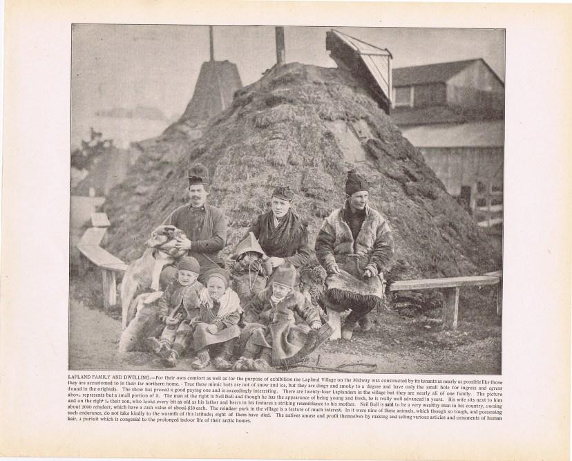 Фотография «Семья саамов и жилище» (Lapland family and dwelling), с аннотацией на английском языке. Габариты 34х27 см.