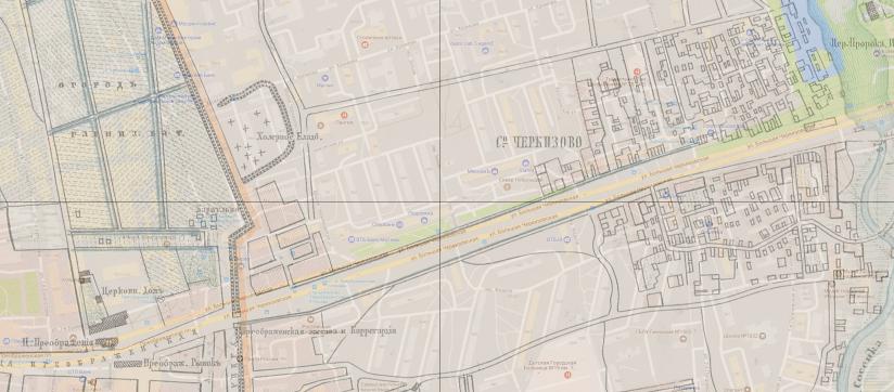 Старинная карта сел Преображенское и Черкизово. В левой части хорошо видна ограда камер-коллежского вала с огородами, напротив которого холерное кладбище.