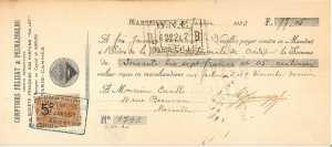 Именной банковский чек № 1792 от 23.01.1923 (Марсель) на сумму 77франков 05