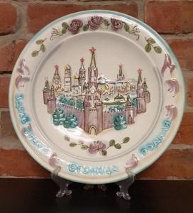 фаянсовая декоративная тарелка, художник валерия петровна шинкаренко, московский кремль, маленькие истории