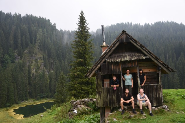 Slovenia Group in hut