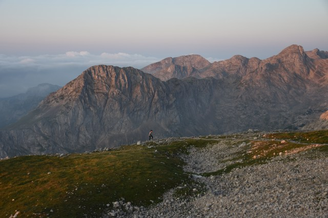 Slovenia Triglav sunrise person walking