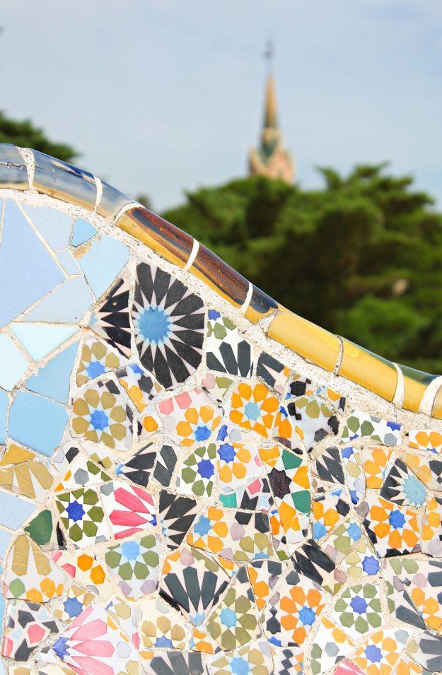 Gaudi_yellow_tile_mosaics_Park_Guell_Little_Big_Bell