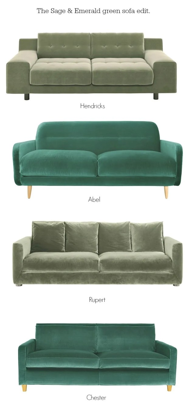 Green velvet sofas