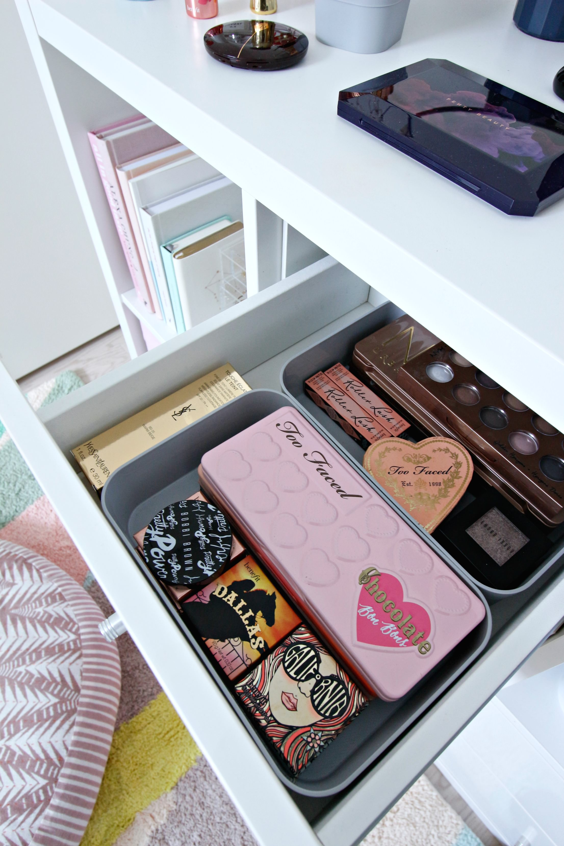 9b6bc5bee472 The Curver Infinity boxes were perfect for organising the boxes of make up  palettes.