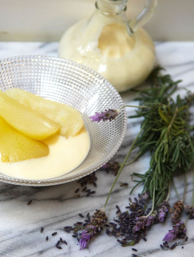Vanilla Poached Pear with Lavender Custard