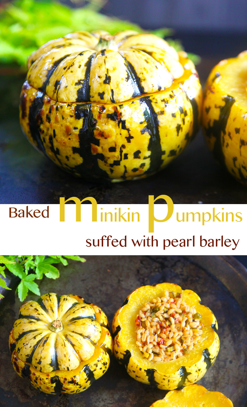stuffed minikin pumpkins with pearl barley