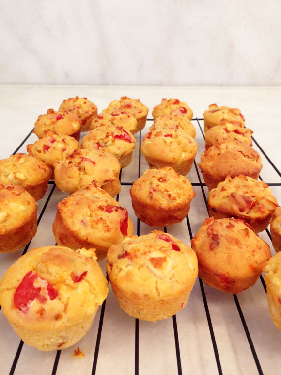 Capsicum tomato and feta muffin