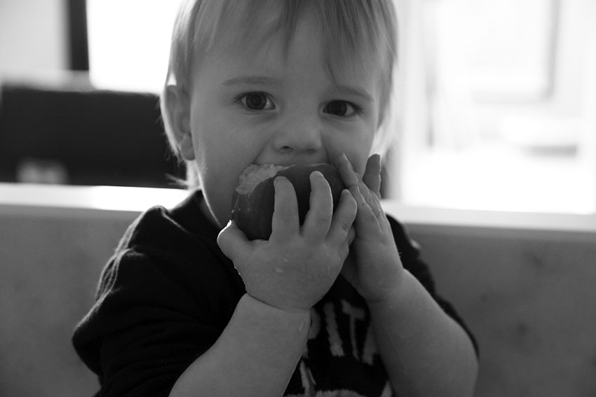 Harry eating a peach - toddler food