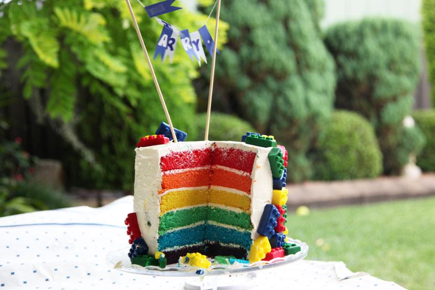 Rainbow cake with lego fondant