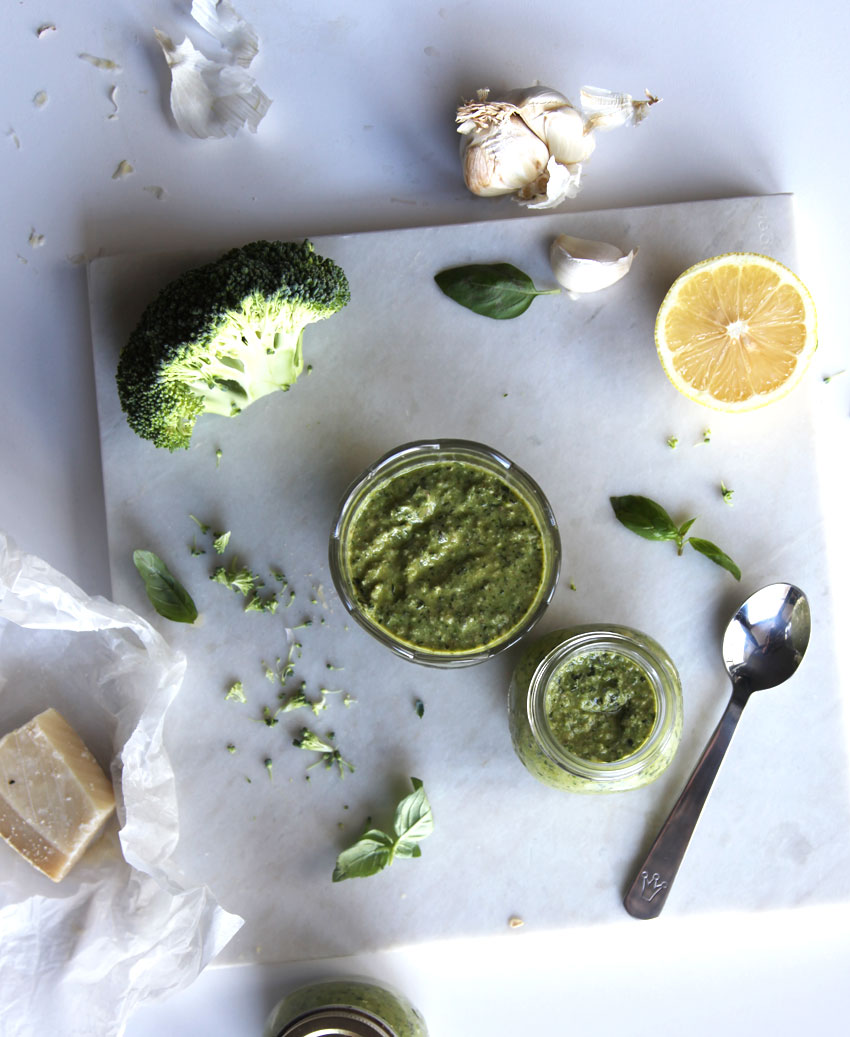 Raw broccoli and basil pesto