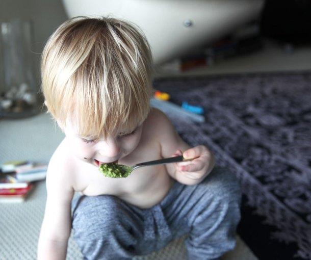 Raw broccoli and basil pesto