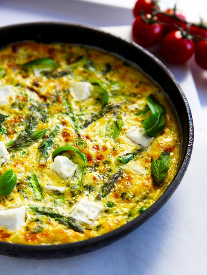 Asparagus Frittata with peas, mint & feta