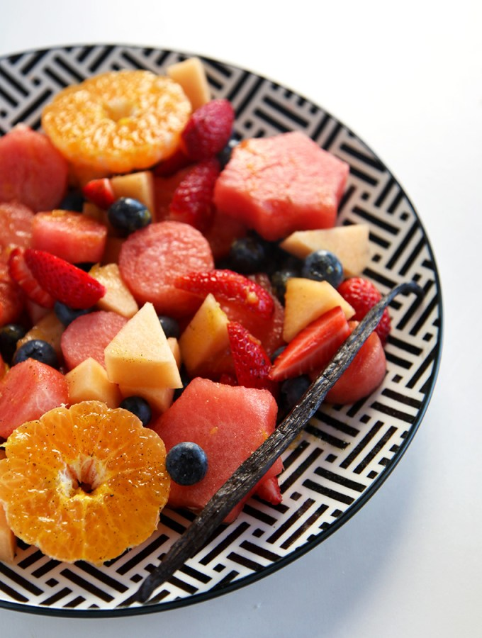 fruit salad with an orange vanilla glaze