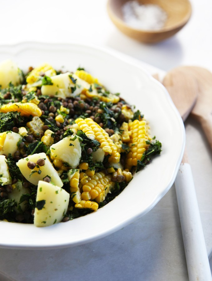 Warm Lentil, Potato & Corn salad with a yoghurt dressing