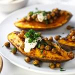 Roasted Sweet Potato, Crispy Chickpeas with Tahini and Sumac