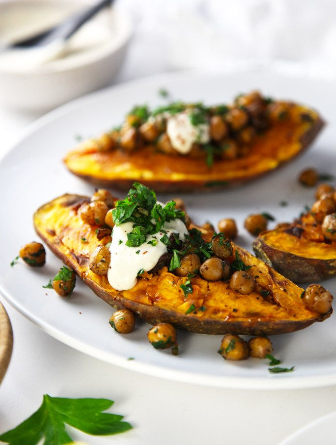 Roasted Sweet Potato, Crispy Chickpeas with Tahini and Sumac