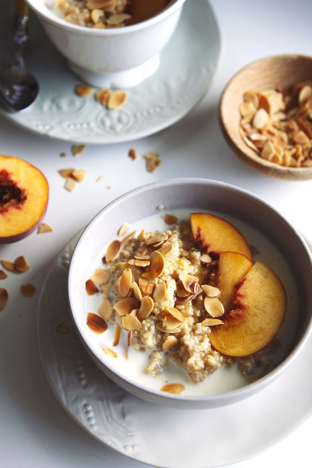Spiced Peach Quinoa Porridge - a beautiful warm comforting breakfast