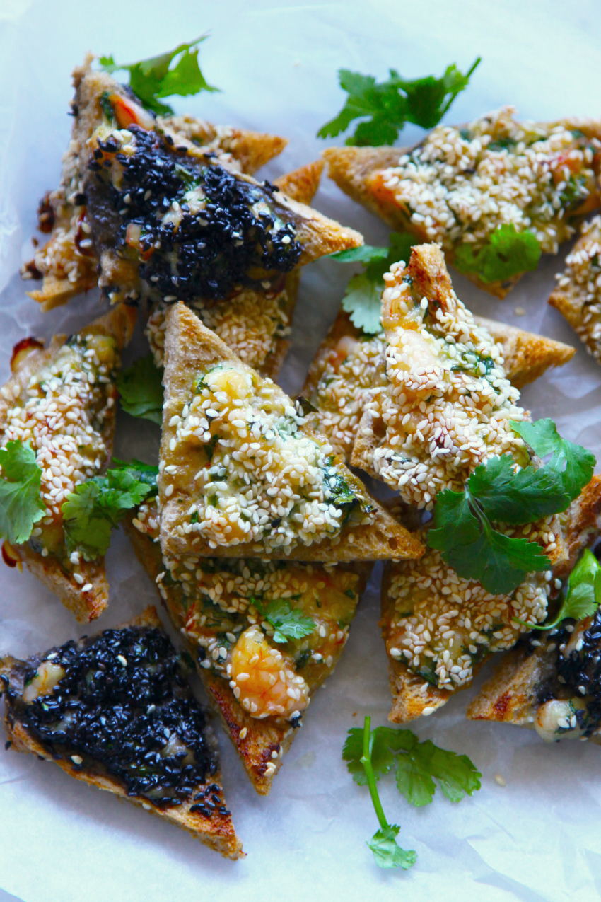 Chunky Sesame Prawn Toasts - delicious, crunchy, tasty little triangles