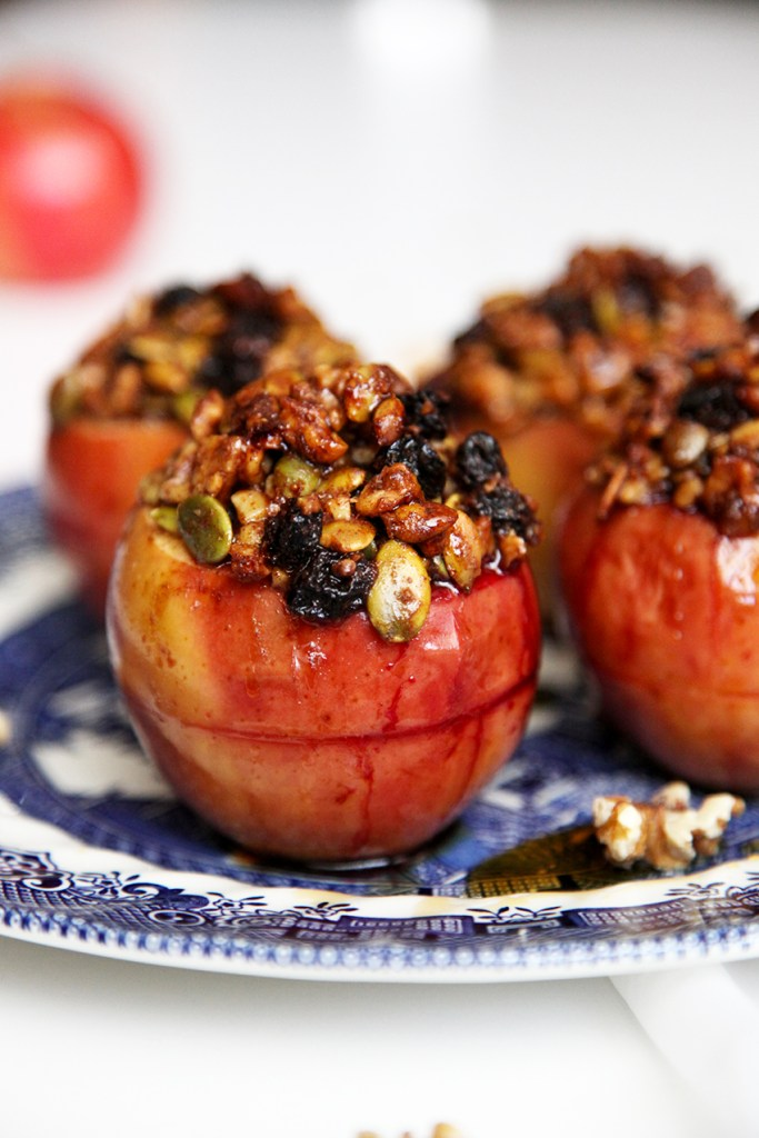 Healthy Baked Apples with blackberries, walnuts, pepitas & sultanas