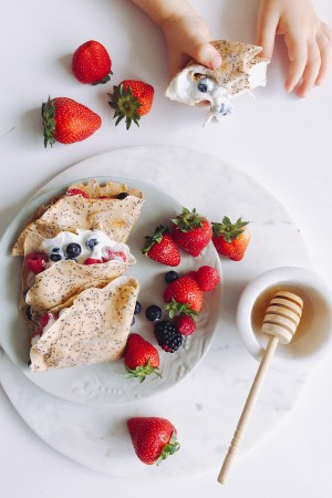 Healthy Poppyseed Crepes with fresh berries and natural yoghurt