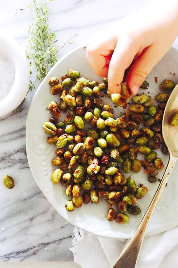 A deliciously healthy snack that is perfect for kids and adults. Eat as is or add to salad and soups. Roasted Edamame with Thyme and Pecorino. #edamame