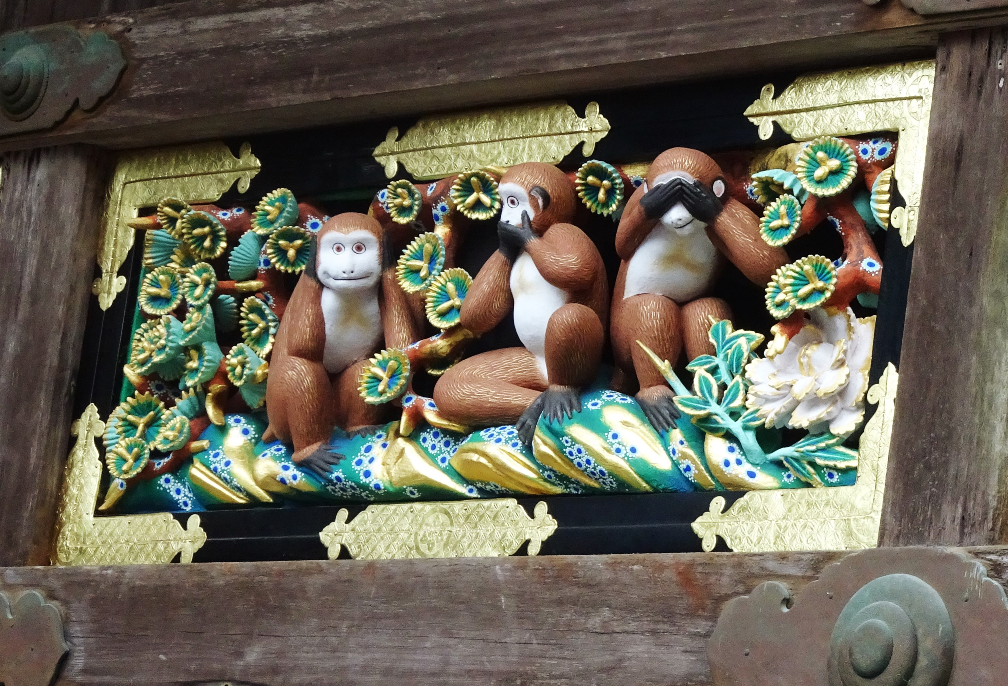 The Three Wise Monkeys 'Hear no evil, say no evil, see no evil', at Tosho-gu temple in Nikko