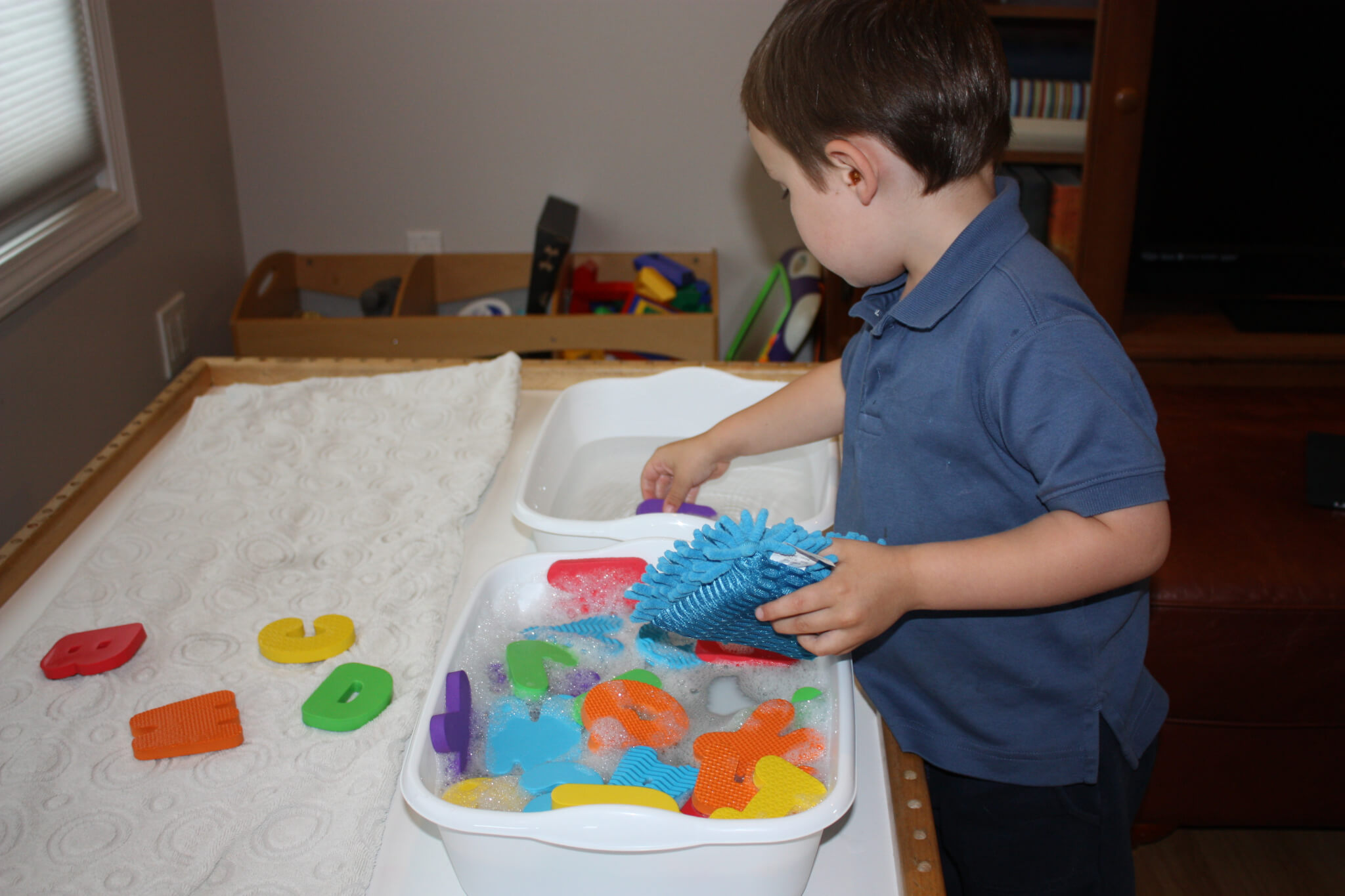 Simple To Create Sensory Alphabet Play Washing Letters