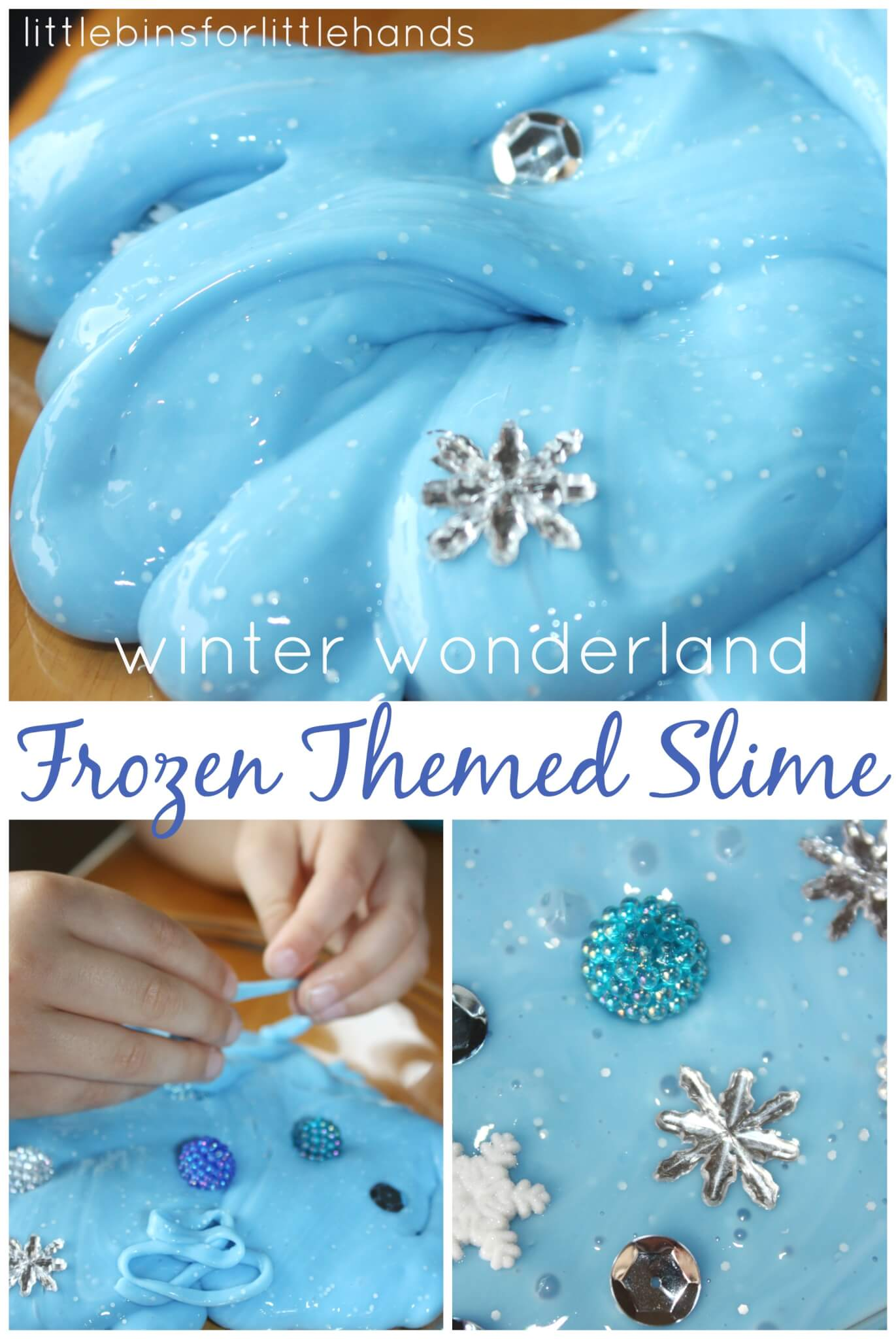 Frozen Theme Easy Slime For Winter Sensory Play