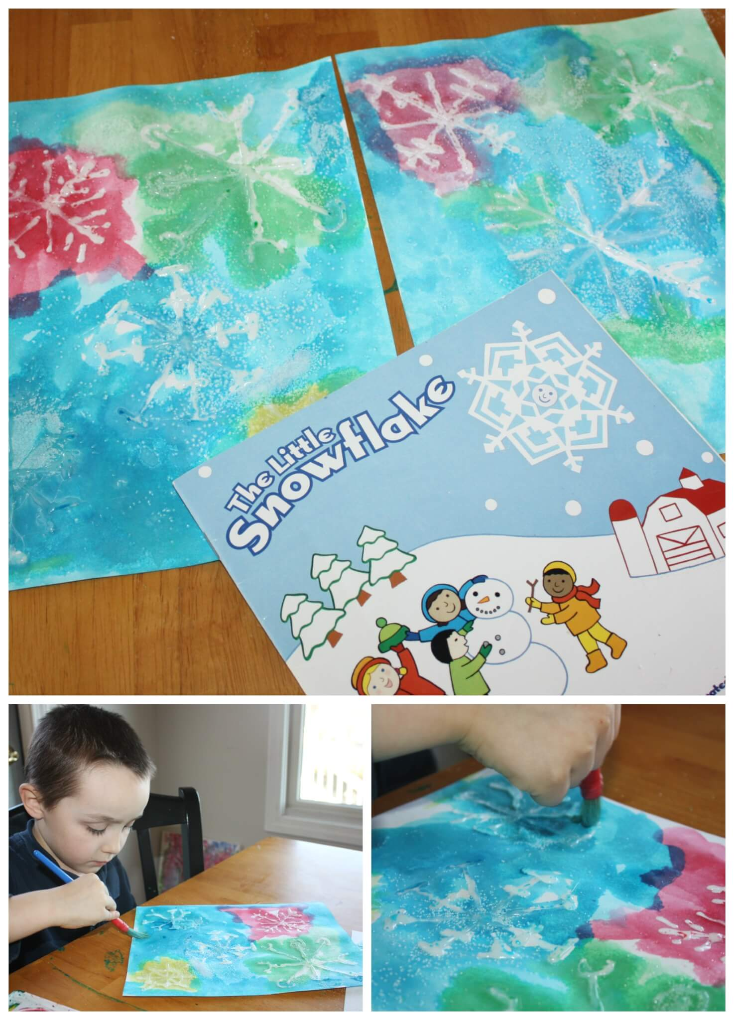 Watercolor Snowflakes Painting Activity For Kids