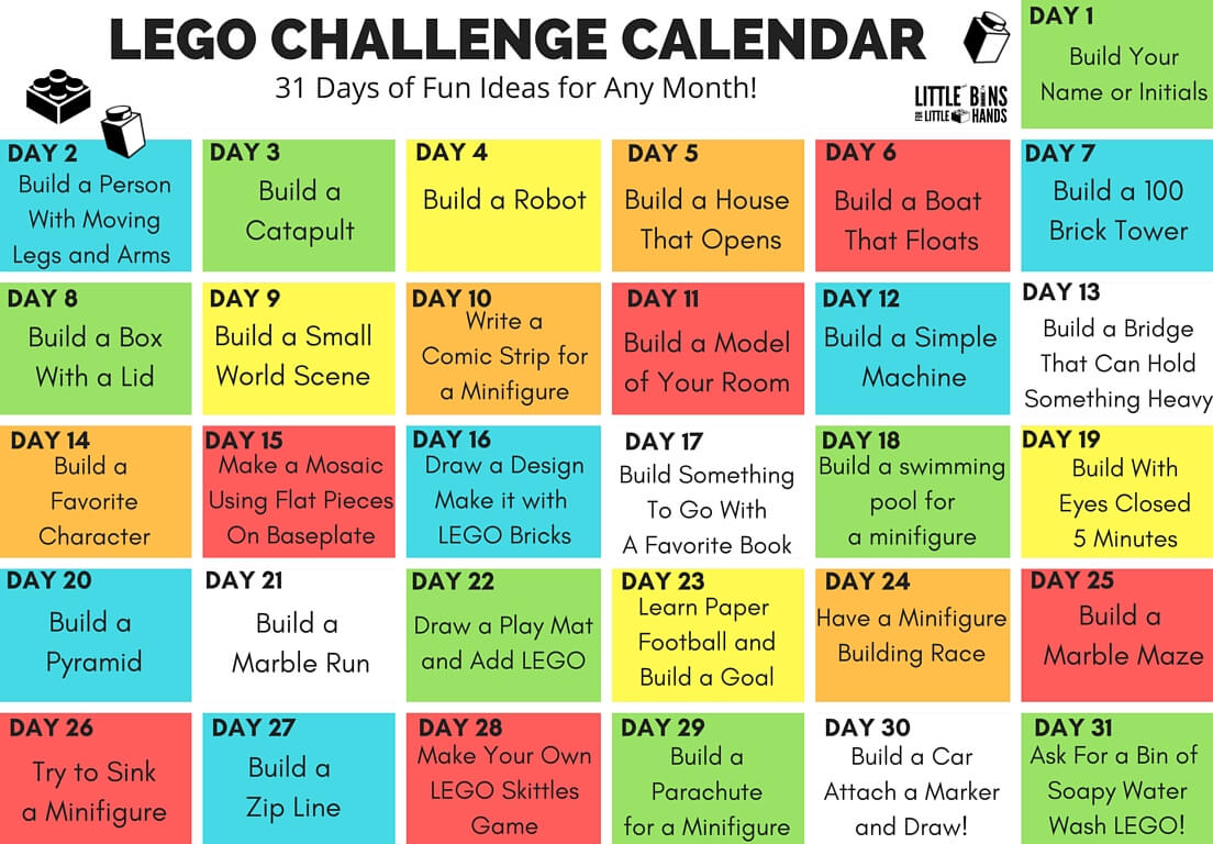 LEGO Challenge Calendar Free Printable For Kids