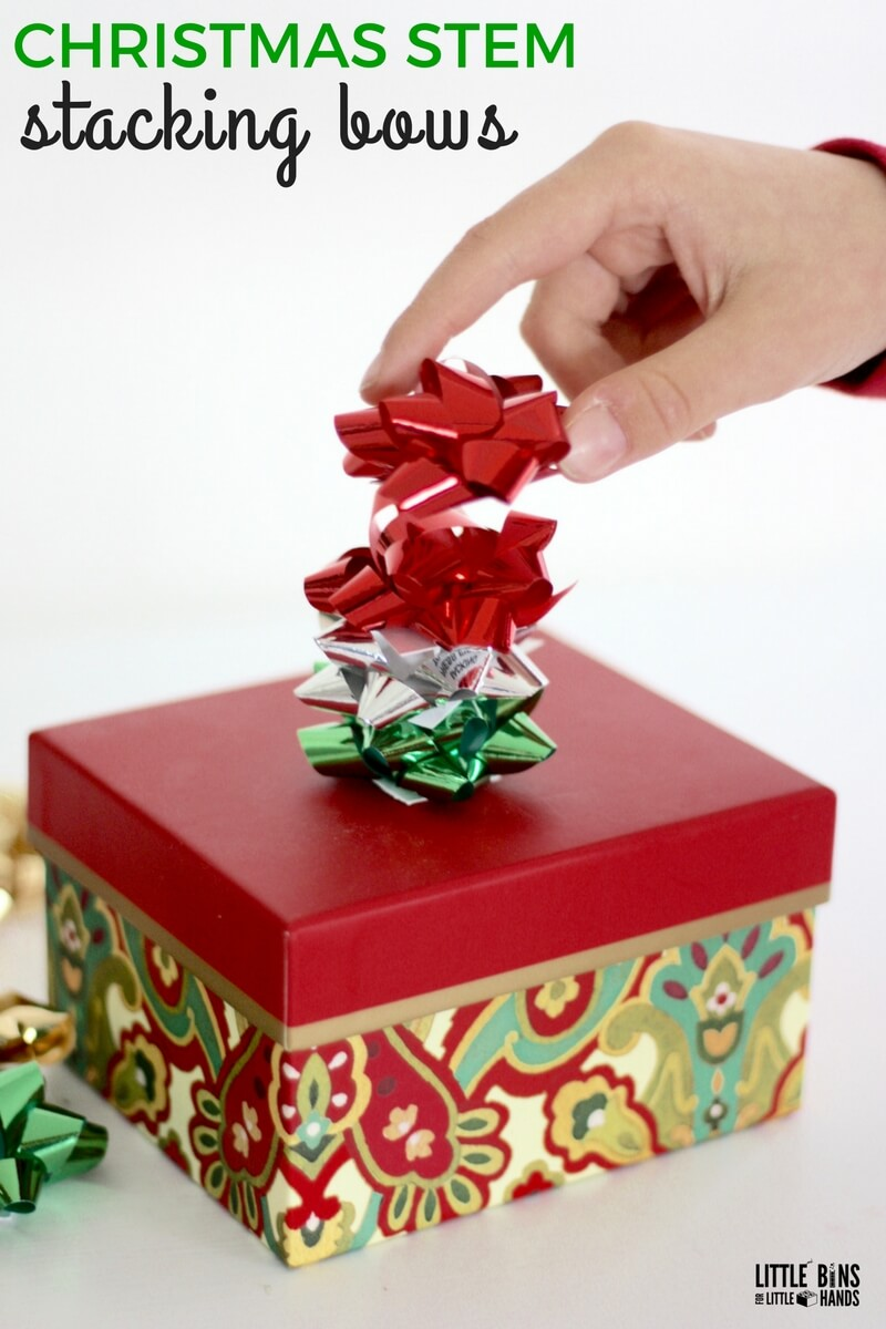Christmas STEM Bow Stacking Engineering Activity With