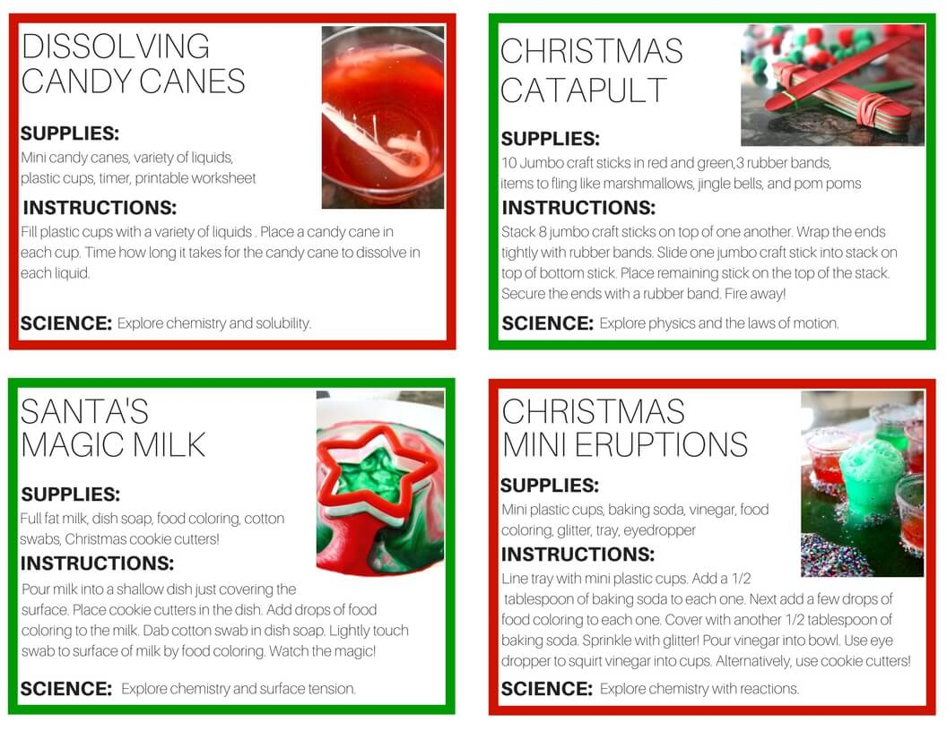 Christmas Science Experiments Printable Cards For 12 Days