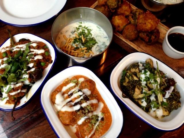 Aubergine, Raita, Venison Meatball Korma, Staff Curry & Mixed Pakora