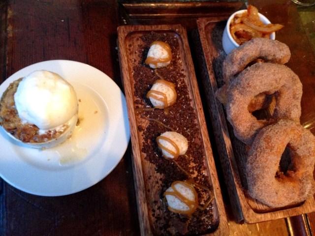 Spiced Rhubarb Crumble, Cardamom Butterscotch Paneer Balls & Chai Doughnuts