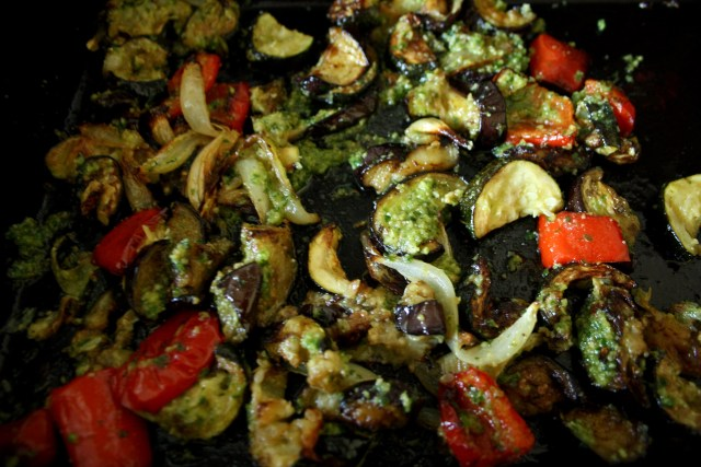 Once a good colour on the veg add 3-4 tsp of the wild garlic pesto & bake for another 5 mins.